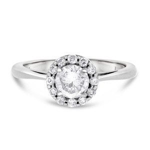 0.75 CT Natural Diamond Round Halo Engagement Ring in Solid 14k White