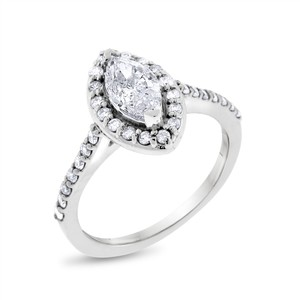 Other 1.12 CT Natural Diamond Marquise Halo Engagement Ring in Solid 14k