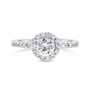 Other 1.17 CT Natural Diamond Round Halo Engagement Ring in Solid 14k White