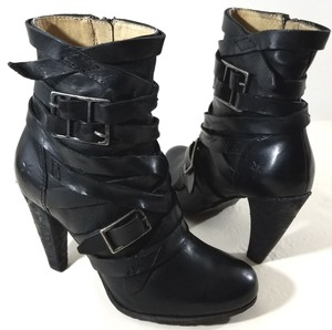 Frye Strappy Criss-cross Black Boots