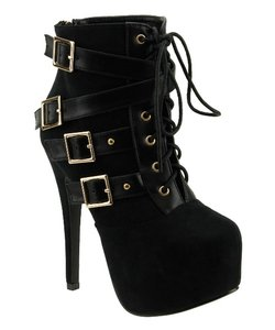 Red Circle Footwear Lace Sexy High Heel Black Boots