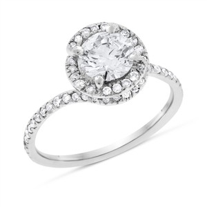 1.25 CT Natural Diamond Round Twisted Halo Engagement Ring in Solid 14