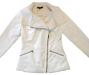 G by Giuliana Faux Leather Rabbit Fur Moto Riding White Leather Jacket