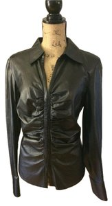 Lafayette 148 New York Leather Ruched Comfortable Date Night black Leather Jacket