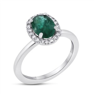1.42 CT Natural Diamond & Emerald Halo Fancy Ring in Solid 14k White