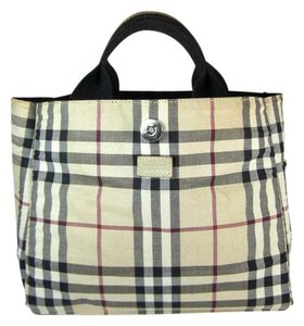 Burberry Nova Check Leather Beige Tote