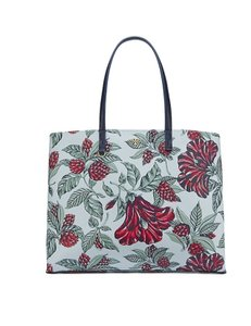 Tory Burch Leather Tote in Green Acre Oversized Floral
