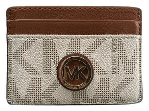 Michael Kors Fulton Wallet Signature Leather Brown/White Clutch
