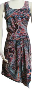 INC International Concepts short dress Teals Coral Red & More Silky Abstract Paisley Size 6 New on Tradesy