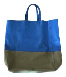 Céline Green Leather Orange 6aceto001 Tote in Blue/tab