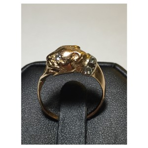 Panther ring Russian rose gold 583 (14k) Size 8 CZ accents c.1990s