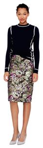 J.Crew Pencil Skirt Metallic Floral Brown