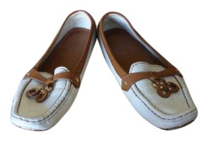Louis Vuitton WHITE LEATHER WITH BROWN LEATHER Flats
