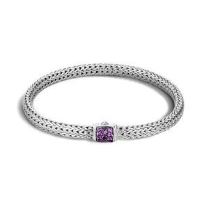 John Hardy Classic Chain Extra Small Amethyst Clasp Bracelet