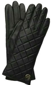 Michael Kors MICHAEL MICHAEL KORS BLACK QUILTED LEATHER GLOVES SIZE LARGE