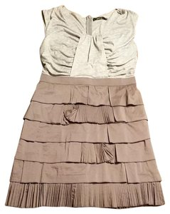 Ark & Co. short dress grey and taupe & Co Size L Asymetrical Layered New on Tradesy