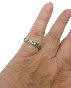 Other size 7.25,14k yellow gold, diamond, green emerald, stacking ring