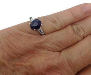 Other 14k white gold, blue sapphire, white topaz ring