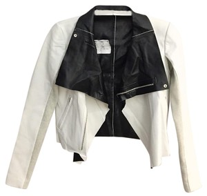 VEDA black, white Leather Jacket