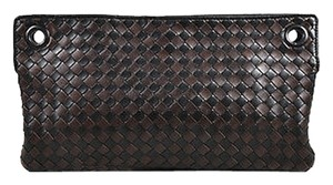 Bottega Veneta Black Leather Intrecciato Woven Flat Brown Clutch