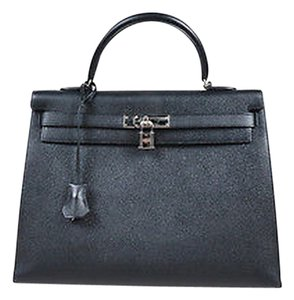 Hermès Noir Epsom Leather Palladium Kelly Sellier Flap Tote in Black