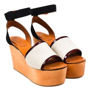 Céline Black Burgundy Leather Platform Wedge White Sandals