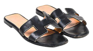 Hermès Hermes Calfskin Leather Black Sandals
