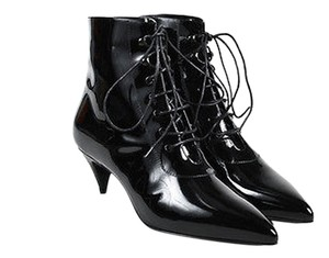 Saint Laurent Patent Lace Up Pointed Toe Low Heeled Black Boots