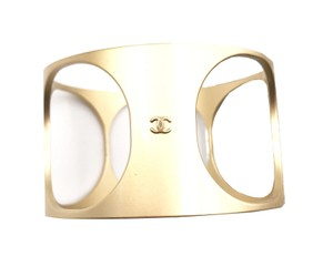 Chanel Chanel Gold Holes Wide Cuff Bracelet