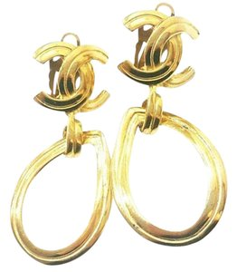 Chanel Vintage Chanel 18K Gold Plated CC Tear Drop Clip on Earrings