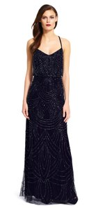 Adrianna Papell Navy Beaded Blouson Gown Dress