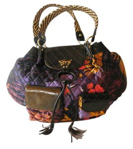 Sharif Floral Pattern Patent Leather Shoulder Bag