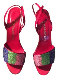 Halston Purple/Green/Pink with Red Leather Straps Sandals