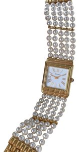 Majorica 18k Gold Plated Swiss Watch With Pearl Band