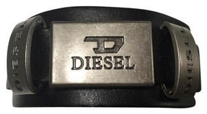 Diesel DIESEL Leather Cuff Logo plate men's/ woman's/ unisex Bracelet