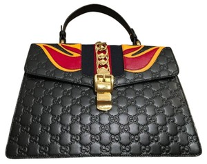 Gucci Sylvie Kylie Jenner Tote in Black & Fire Red + Orange