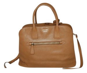 Prada Work Saffiano Tote in caramel brown