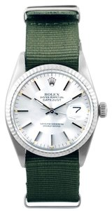 Rolex ROLEX MENS STAINLESS STEEL DATEJUST 16014 - SILVER DIAL - OLIVE STRAP