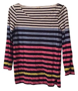 J.Crew Bold Bright 3/4 Length Sleeves Comfortable All Seasons T Shirt Multi neon - Navy stripes