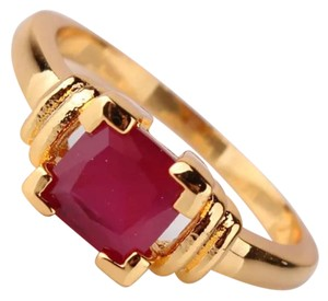 New Lab Created Ruby Yellow Gold Filled Ring