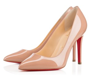 Christian Louboutin Pigalle 100mm Patent Follies Nude Pumps
