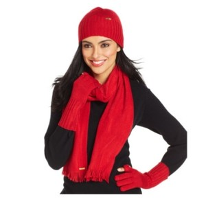Calvin Klein Calvin Klein 3-Piece Hat, Scarf & Tech Glove Set (New) - RED