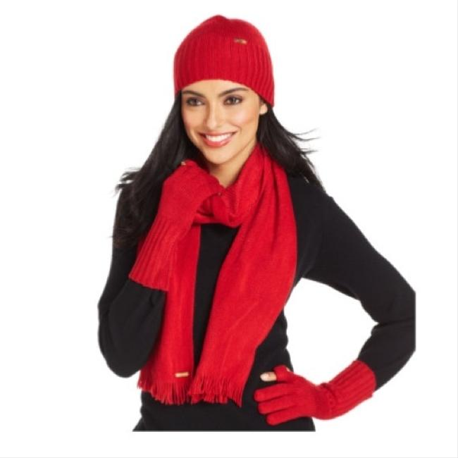Calvin Klein Red 3-piece Hat Tech Glove Set (New) - Scarf/Wrap Calvin Klein Red 3-piece Hat Tech Glove Set (New) - Scarf/Wrap Image 1