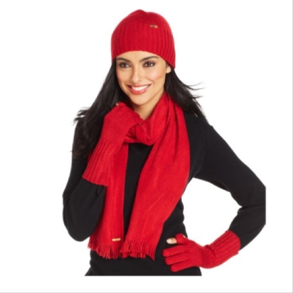Calvin Klein Red 3-piece Hat Tech Glove Set (New) - Scarf Wrap - Tradesy 382d04cffc9