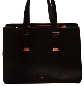 Ted Baker Tote in Black with orange lining and rosegold hardware.