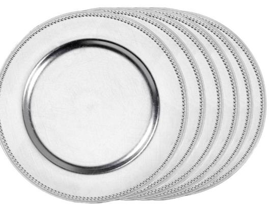 Matte Silver Charger Plates Tableware