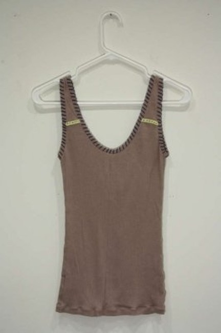 Free People Ribbed Knit Stretchy Lace Lace Applique Stitching Summer Top brown
