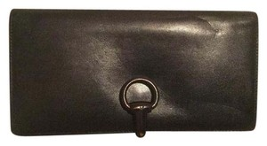 Gucci Gucci Checkbook Card Holder Wallet Black Leather