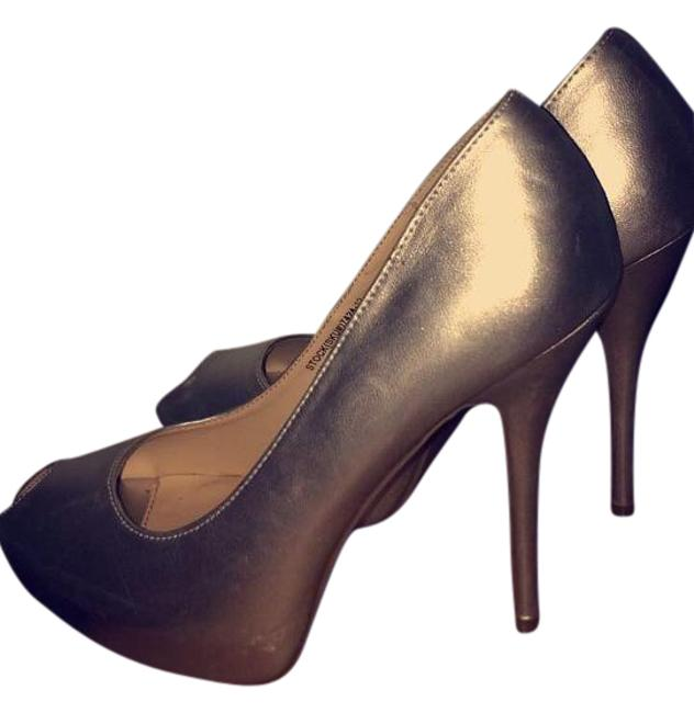 Cathy Jean Silver Smooth Patent Leather Peep-toe 4 Inch Heels. Pumps Size US 7.5 Cathy Jean Silver Smooth Patent Leather Peep-toe 4 Inch Heels. Pumps Size US 7.5 Image 1