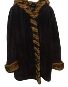 Dennis Basso dennis basso dk brown suede and mink look coat size med